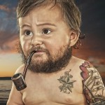 Baby with a pipe sporting a beard